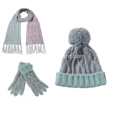 Cable Knitted hat scarf and gloves